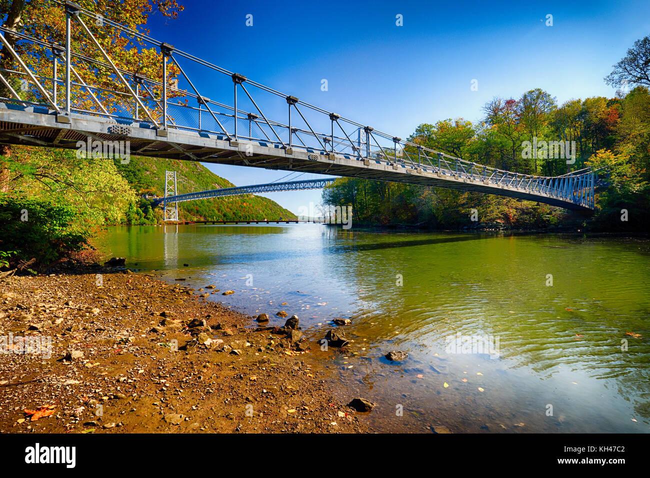 View of Two Bridges, Bear Mountain Bridge and The Popolepen Creek Footbridge, Ft. Montgomery, New York - Stock Image