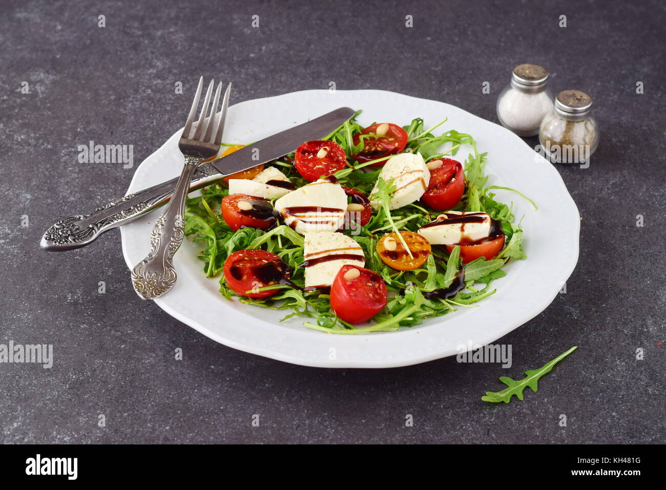 Traditional Italian Salad With Cherry Tomato Rucola Mozzarella