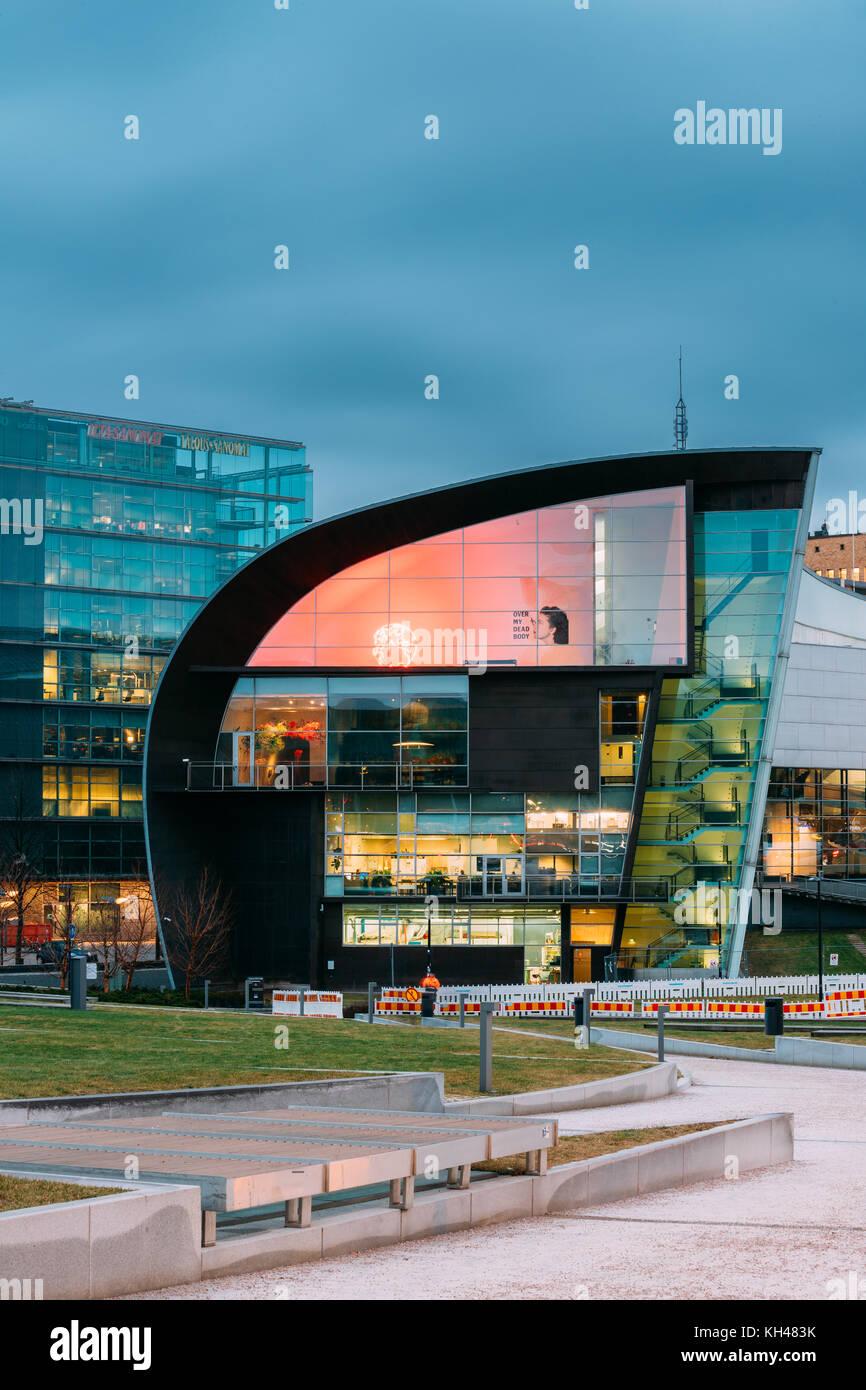 Helsinki, Finland - December 7, 2016: Evening Night View Of Kiasma Contemporary Art Museum. The Museum Exhibits - Stock Image