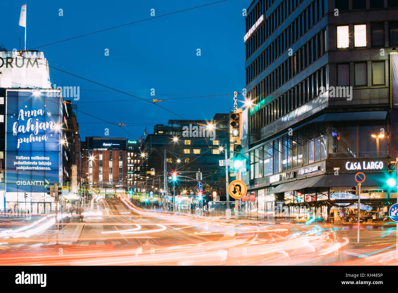 Helsinki, Finland - December 7, 2016: Night View Of Traffic Light Trails In Kaivokatu Street In Evening Or Night - Stock Image