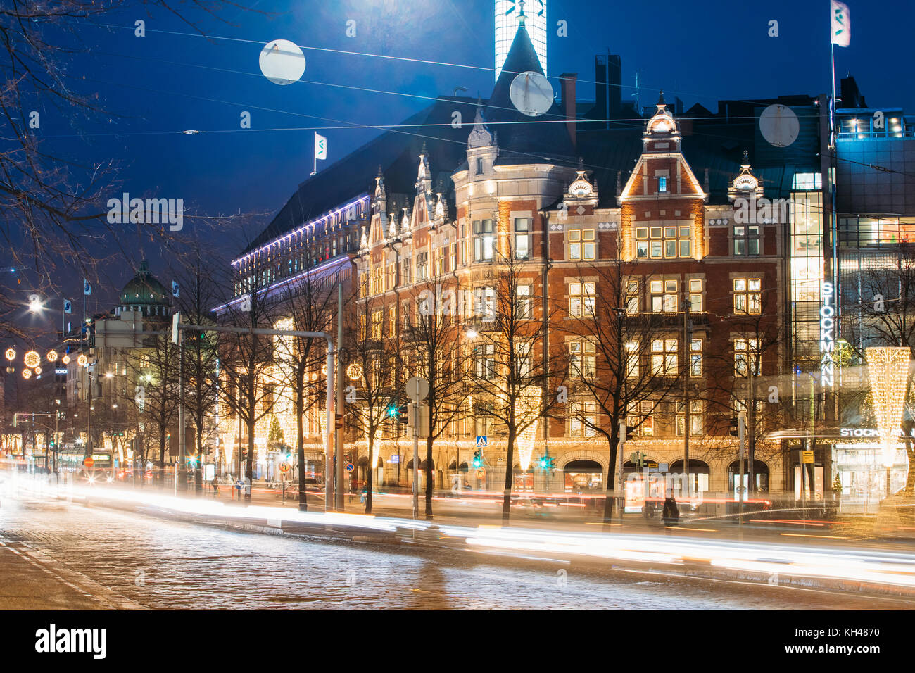 Helsinki, Finland - December 7, 2016: Night View Of Traffic Light Trails In Mannerheim Avenue Street In Evening - Stock Image