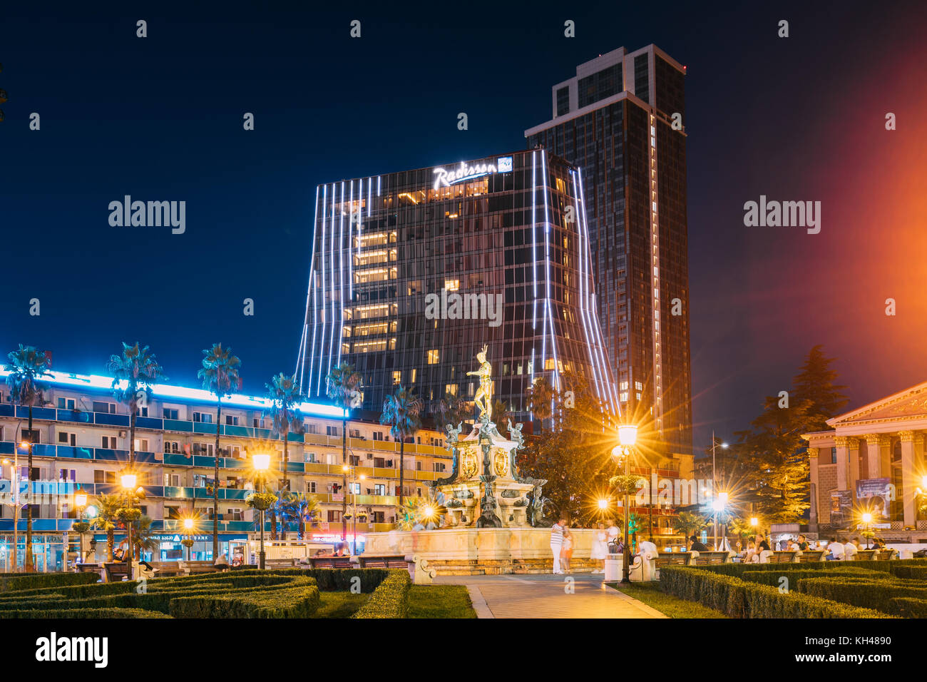 Batumi, Adjara, Georgia - September 8, 2017: Neptune Fountain In Park On Rustaveli Ave. Famous Landmark Against Stock Photo