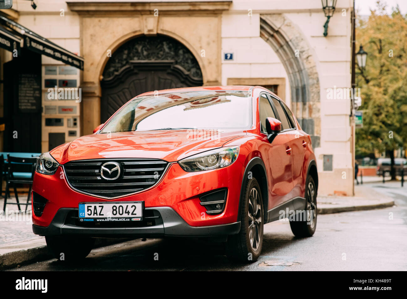 Prague, Czech Republic - September 24, 2017: Front View Of Red Facelift Mazda Cx-5 Car Parked In Street. Stock Photo