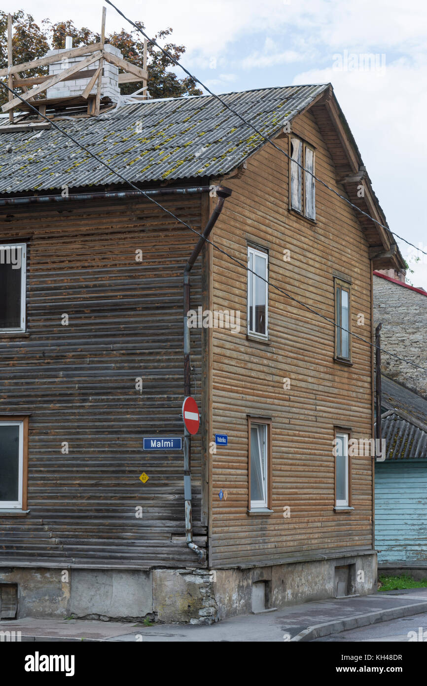 Old Wooden house in Kalamaja Tallinn - Stock Image