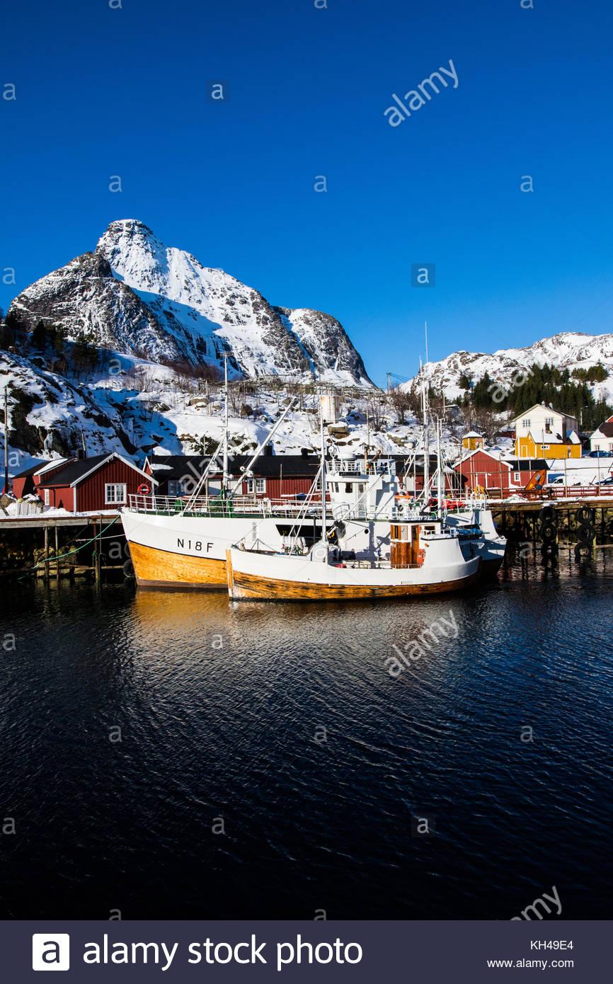 nusfjord, nusfjorden, flagstadøya, lofoten, nordland, norway, march 2017 - Stock Image