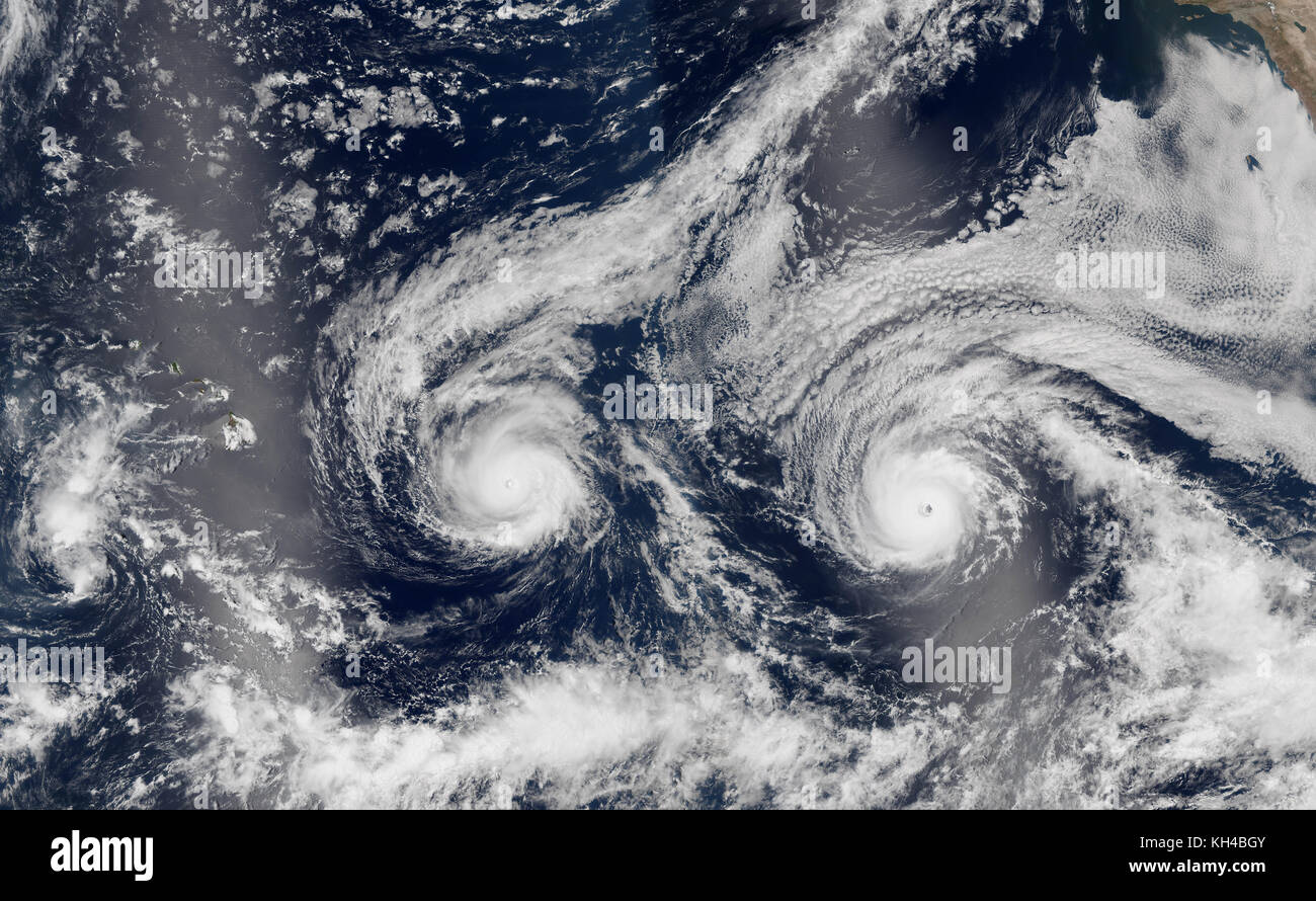 Composite photo of category 3 & 4 hurricanes. 8-29-16. Hurricanes Madeline & Lester were between cat 3 & - Stock Image