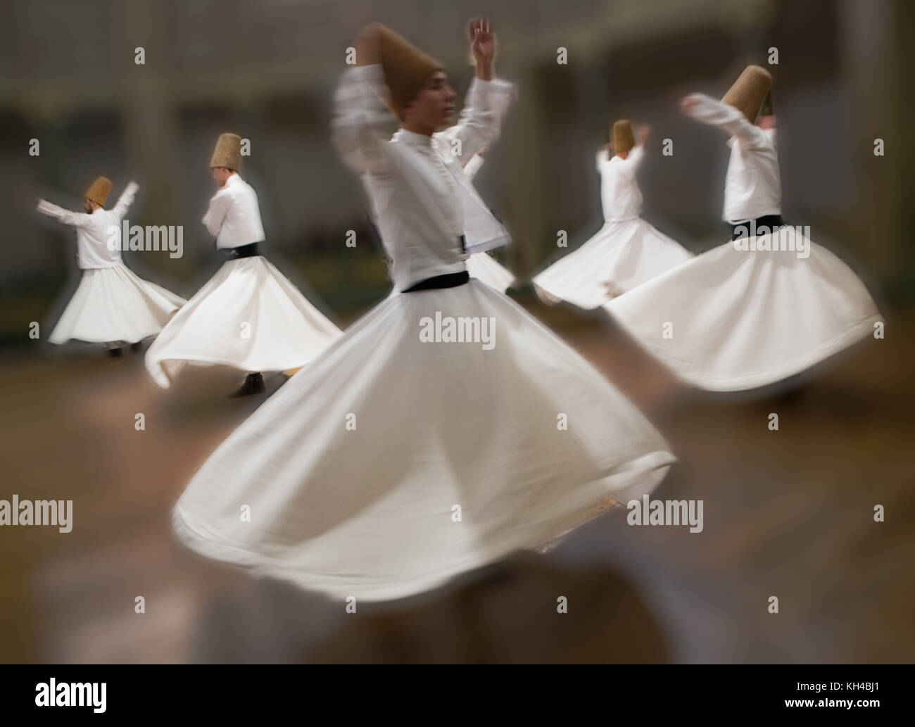 Whirling Dervishes practice their dance in Istanbul, Turkey on Apr 30, 2016 - Stock Image