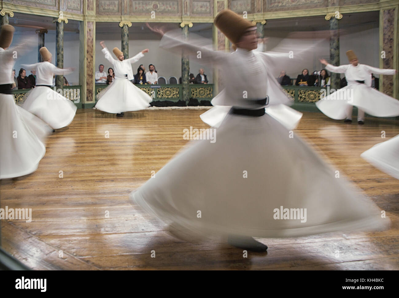 Blurred Whirling Dervishes practice their dance in Istanbul, Turkey on Apr 30, 2016 - Stock Image
