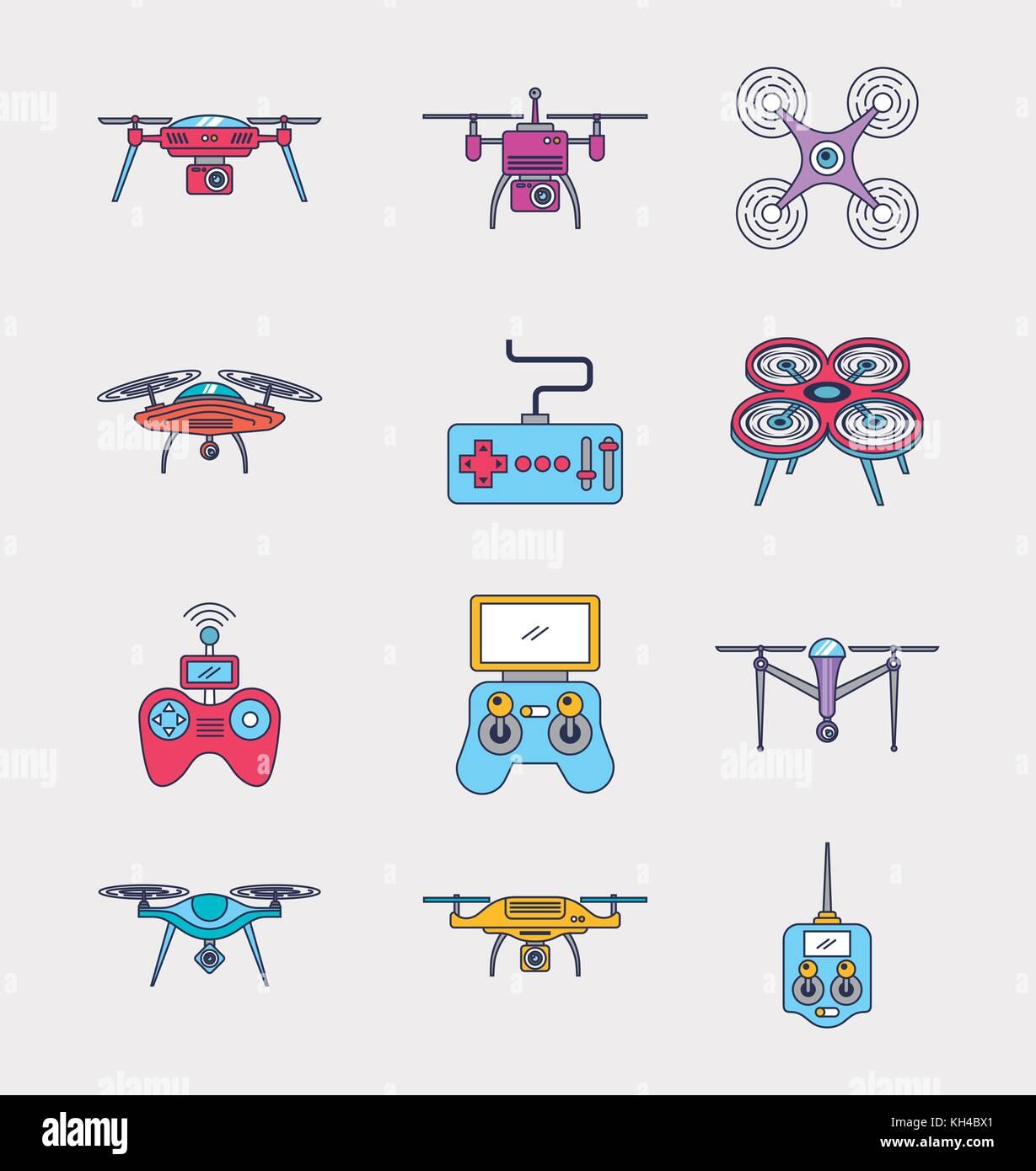 Drone Icon Set Remote Control Aerial Camera View