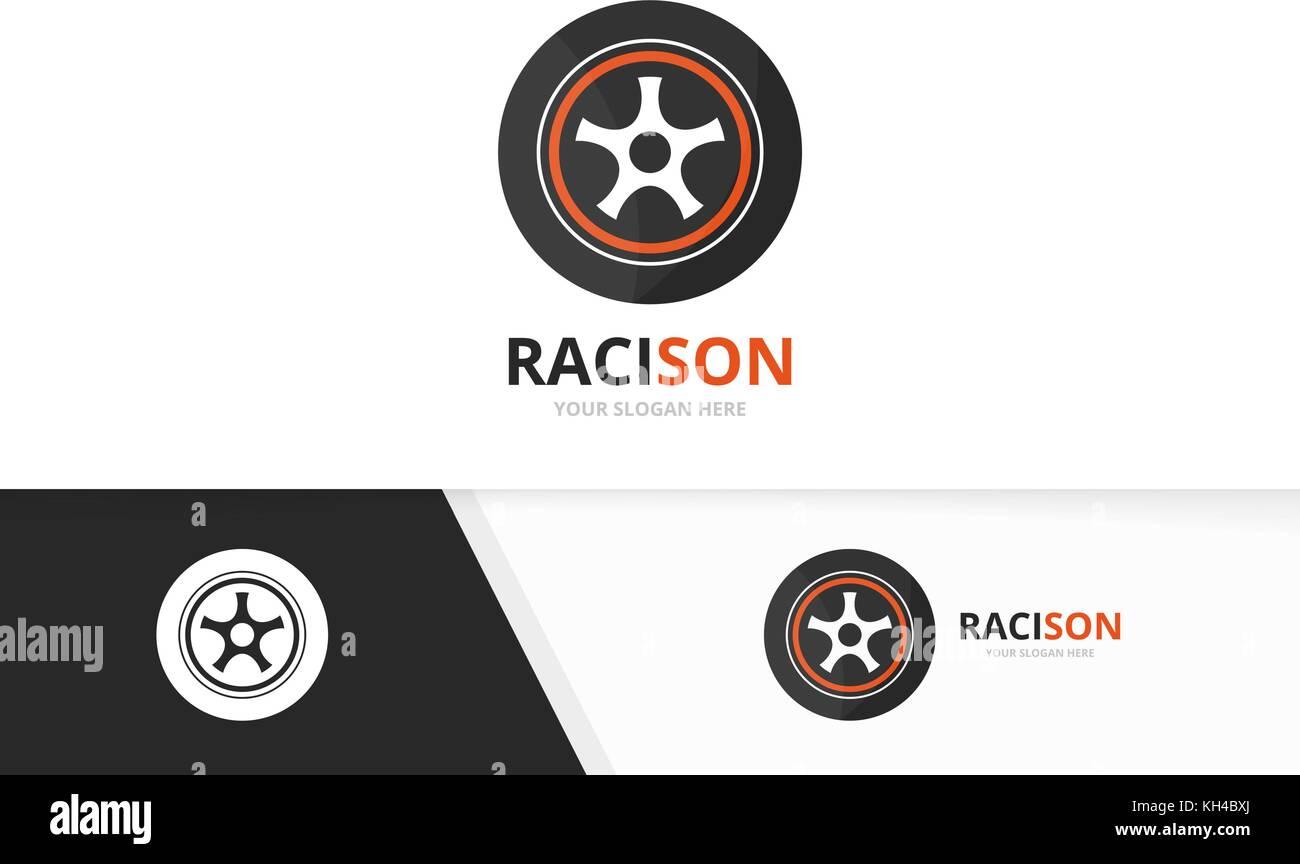 Vector Wheel Logo Combination Tire And Car Symbol Or Icon Unique