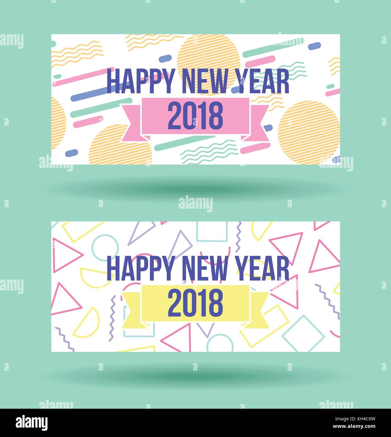 happy new year 2018 card greeting celebration party - Stock Vector