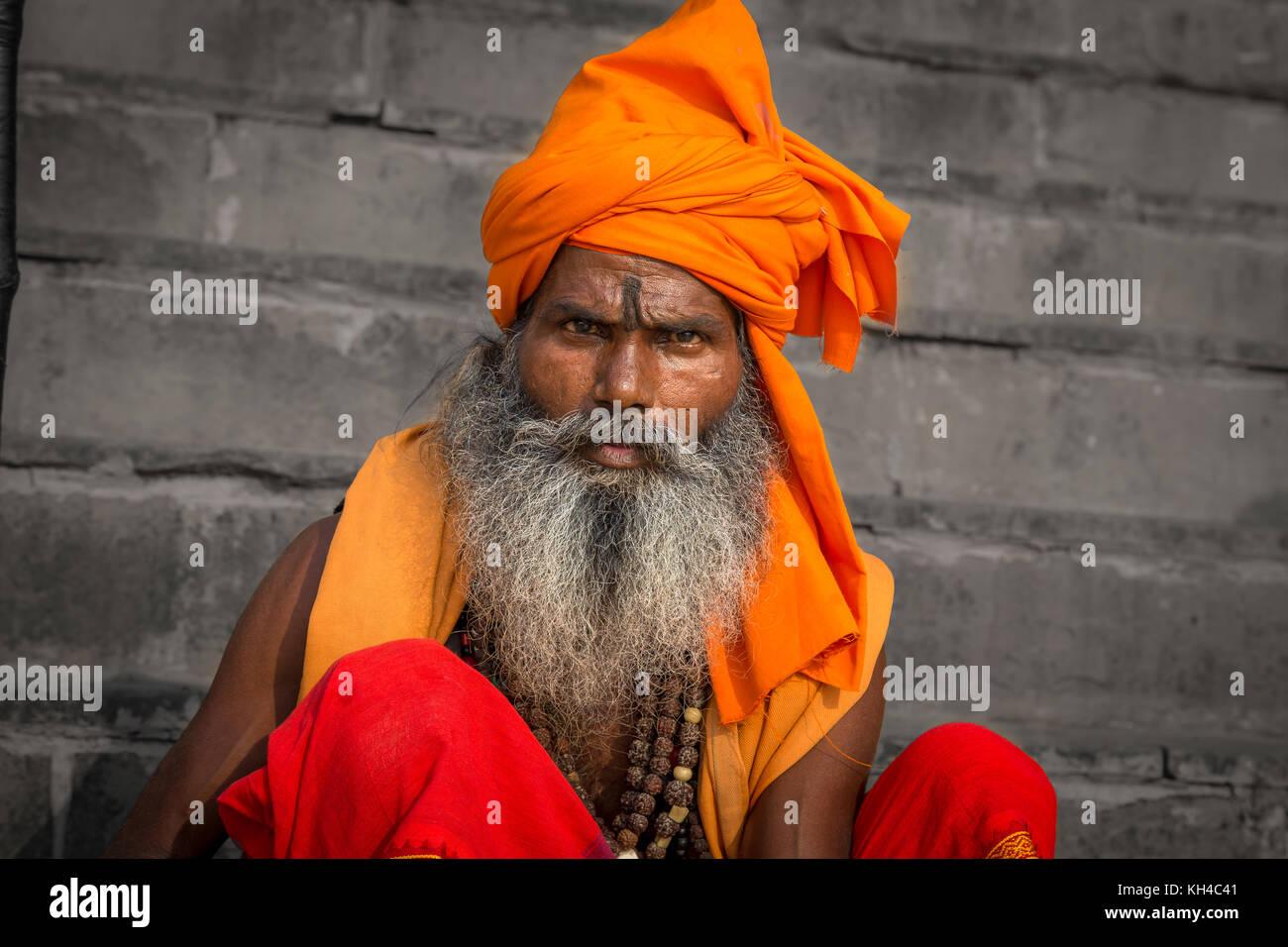 Varanasi sadhu man in close up portrait view - Stock Image