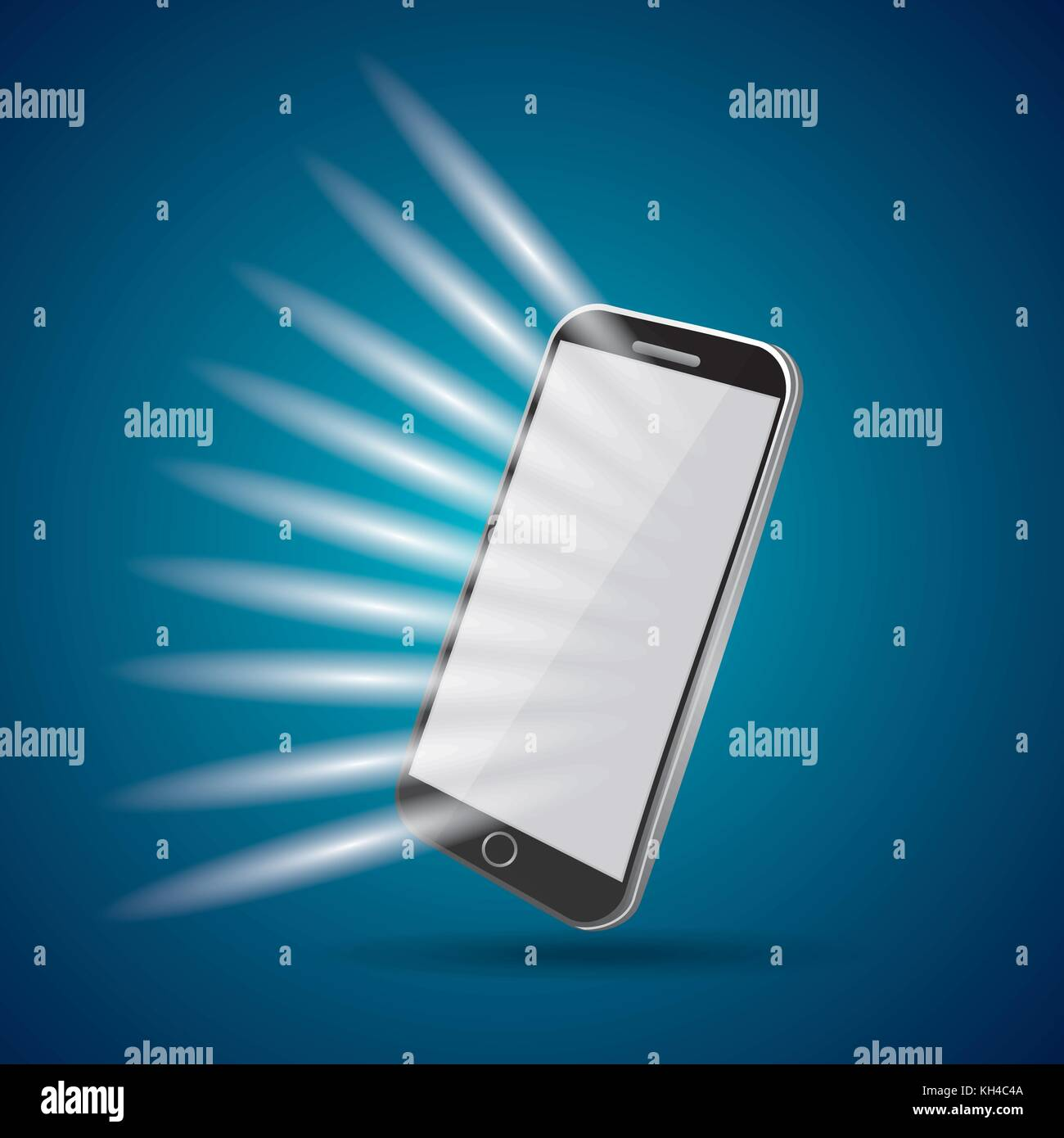 mobile phone with light abstracted screen on a white background - Stock Image