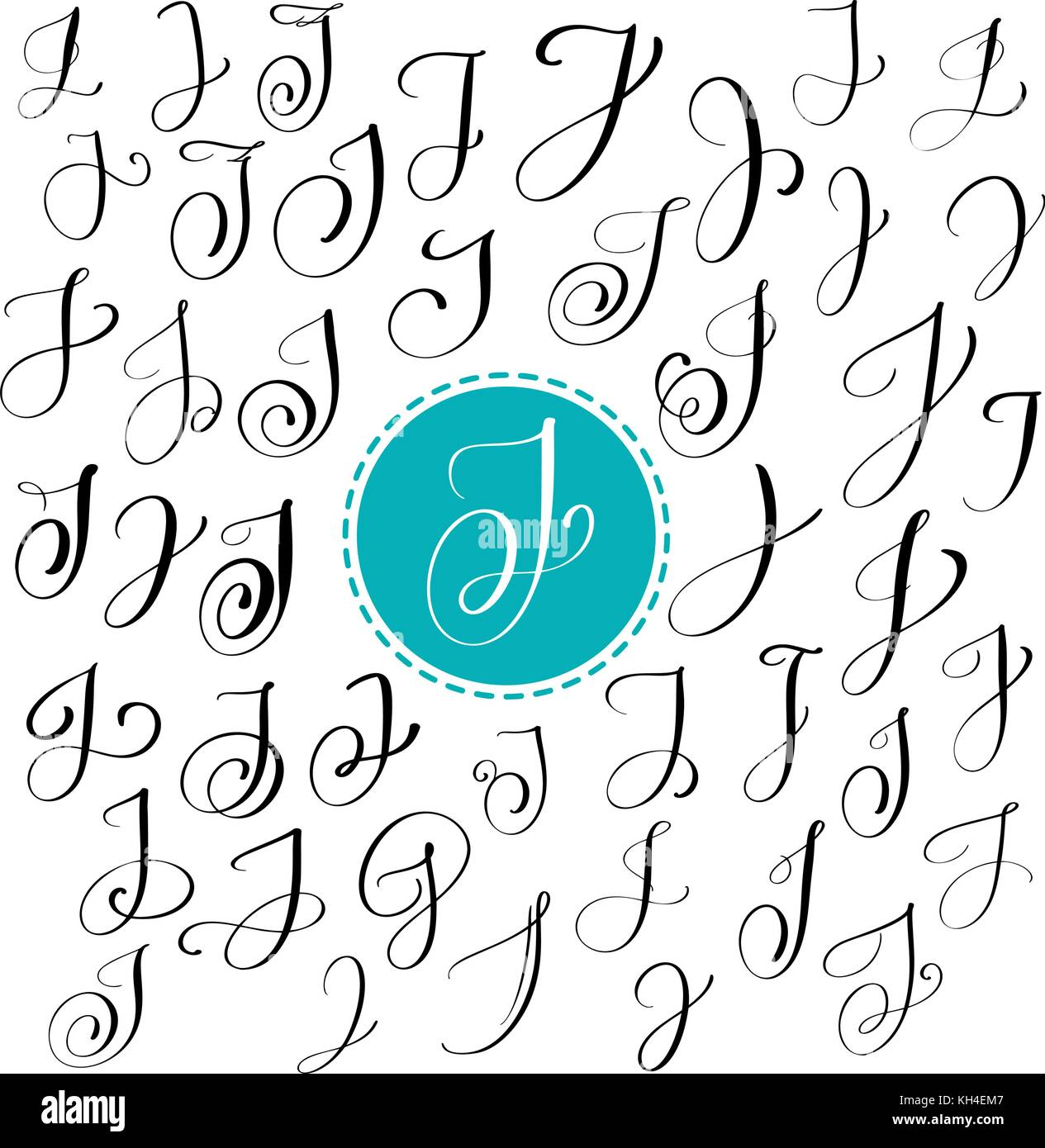 Set Of Hand Drawn Vector Calligraphy Letter J Script Font Isolated Letters Written With Ink Handwritten Brush Style Lettering For Logos Packaging