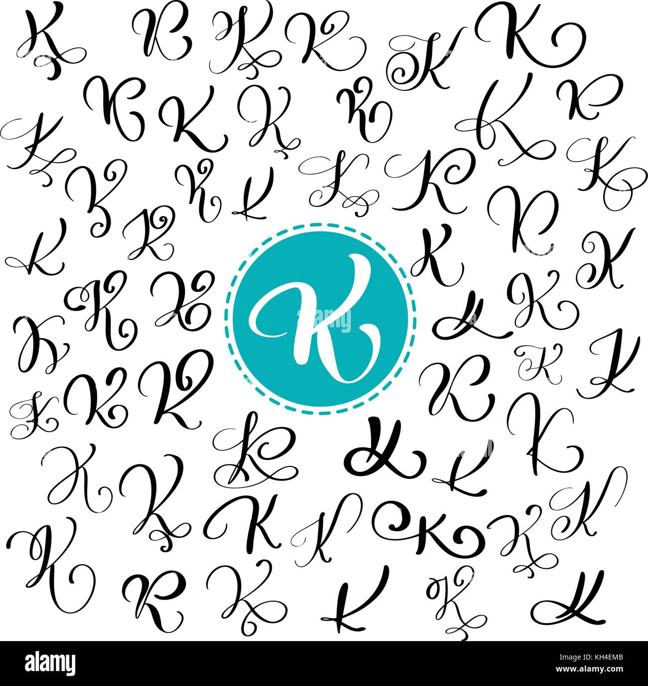 Set Of Hand Drawn Vector Calligraphy Letter K Script Font Isolated Letters Written With Ink Handwritten Brush Style Lettering For Logos Packaging