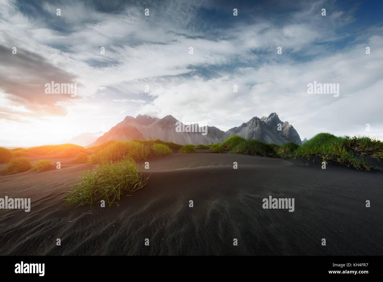 Stokksnes mountains and black desert - Stock Image