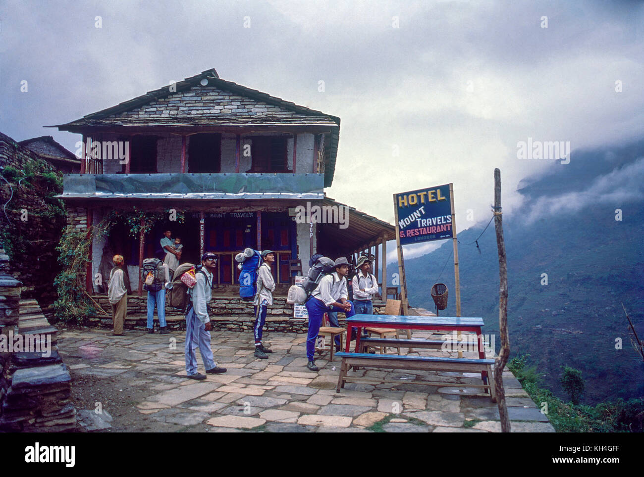 hotel mount travels, landrum village on route of Annapurna base camp, Nepal, Asia - Stock Image