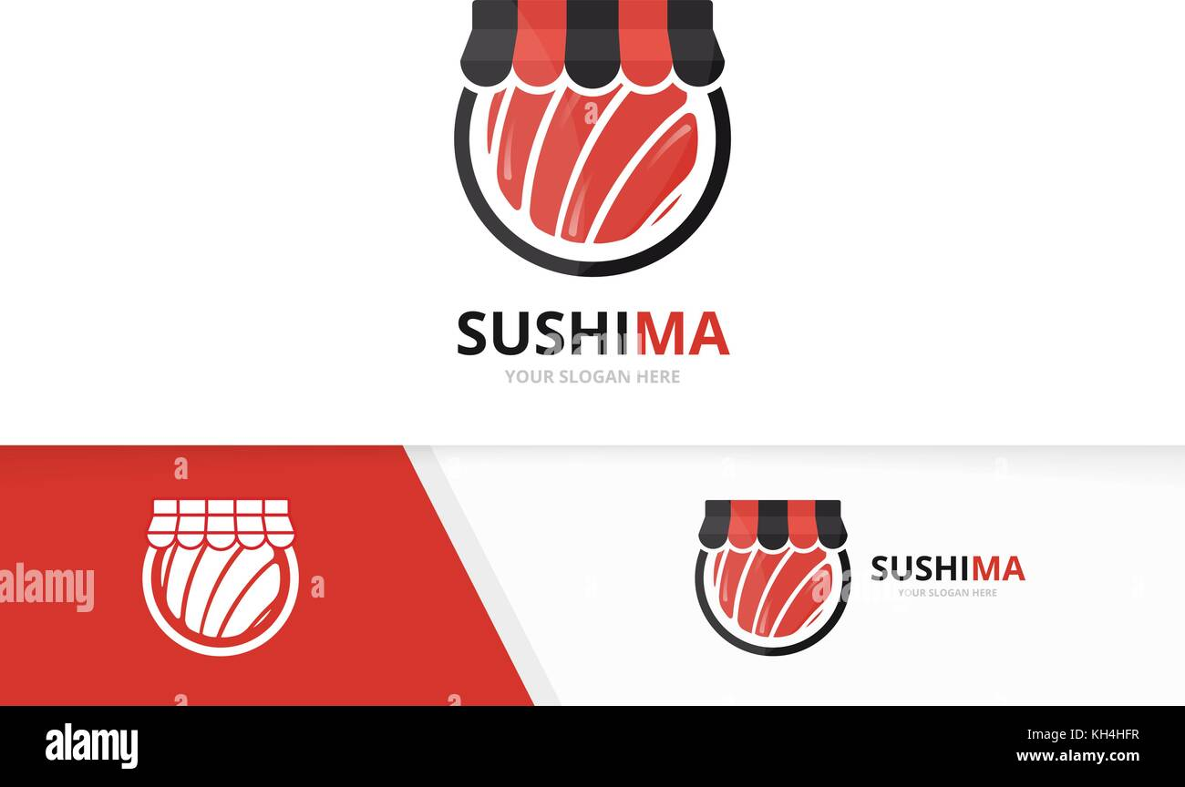 Vector sushi and shop logo combination. Japanese food and sale symbol or icon. Unique seafood and market logotype - Stock Vector