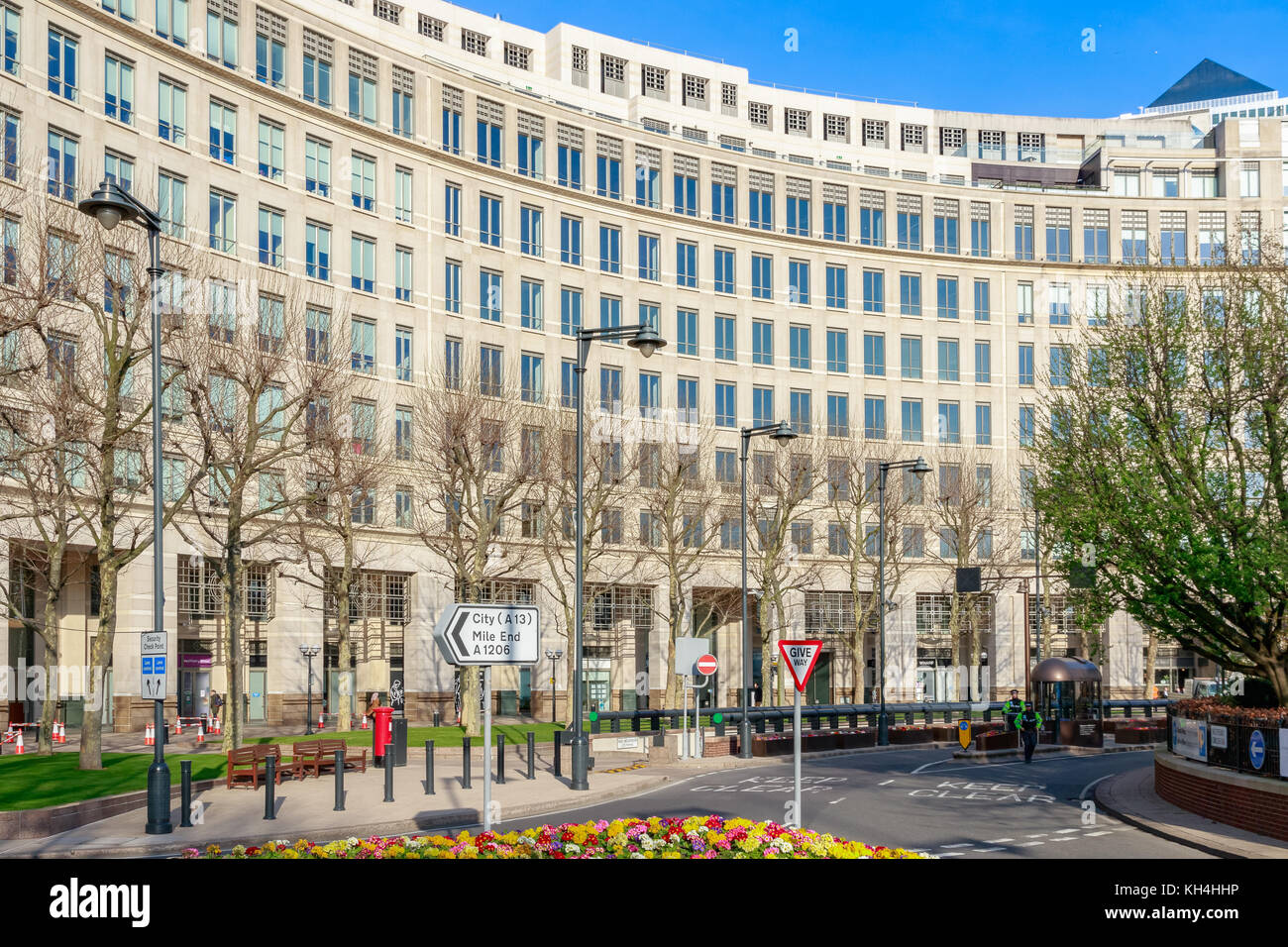 London, UK - November 24, 2017 - Facade of an office building on Westferry Circus in Canary Wharf - Stock Image