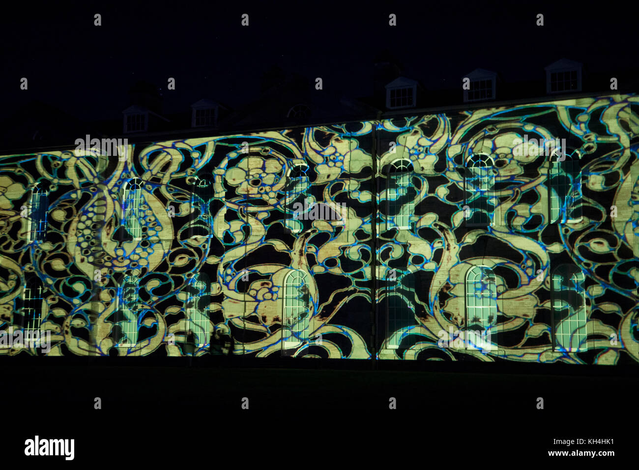 Contemporary light projection onto the exterior of Compton Verney country mansion by light artist Luxmuralis. The - Stock Image
