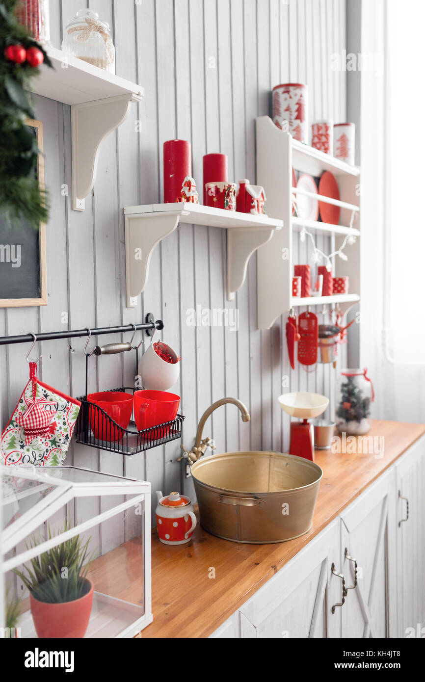 red and grey kitchen