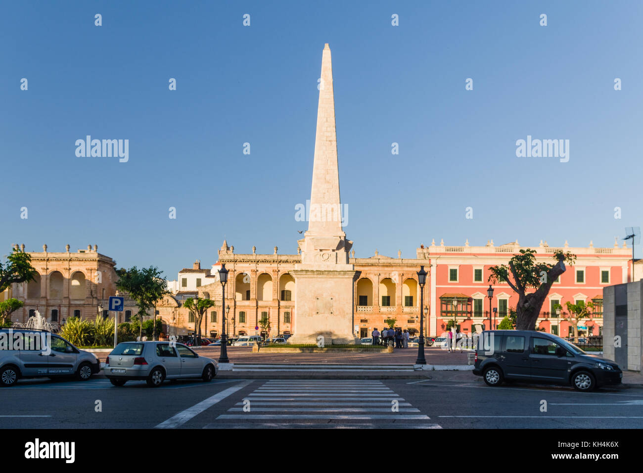 Obelish in the center of Ciutadella in Menorca - Stock Image