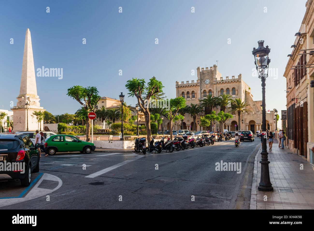Town hall and Obelish in main square of Ciutadella, Menorca - Stock Image
