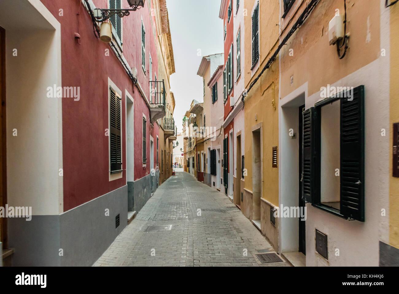 Streets of Ciutadella, Menorca - Stock Image