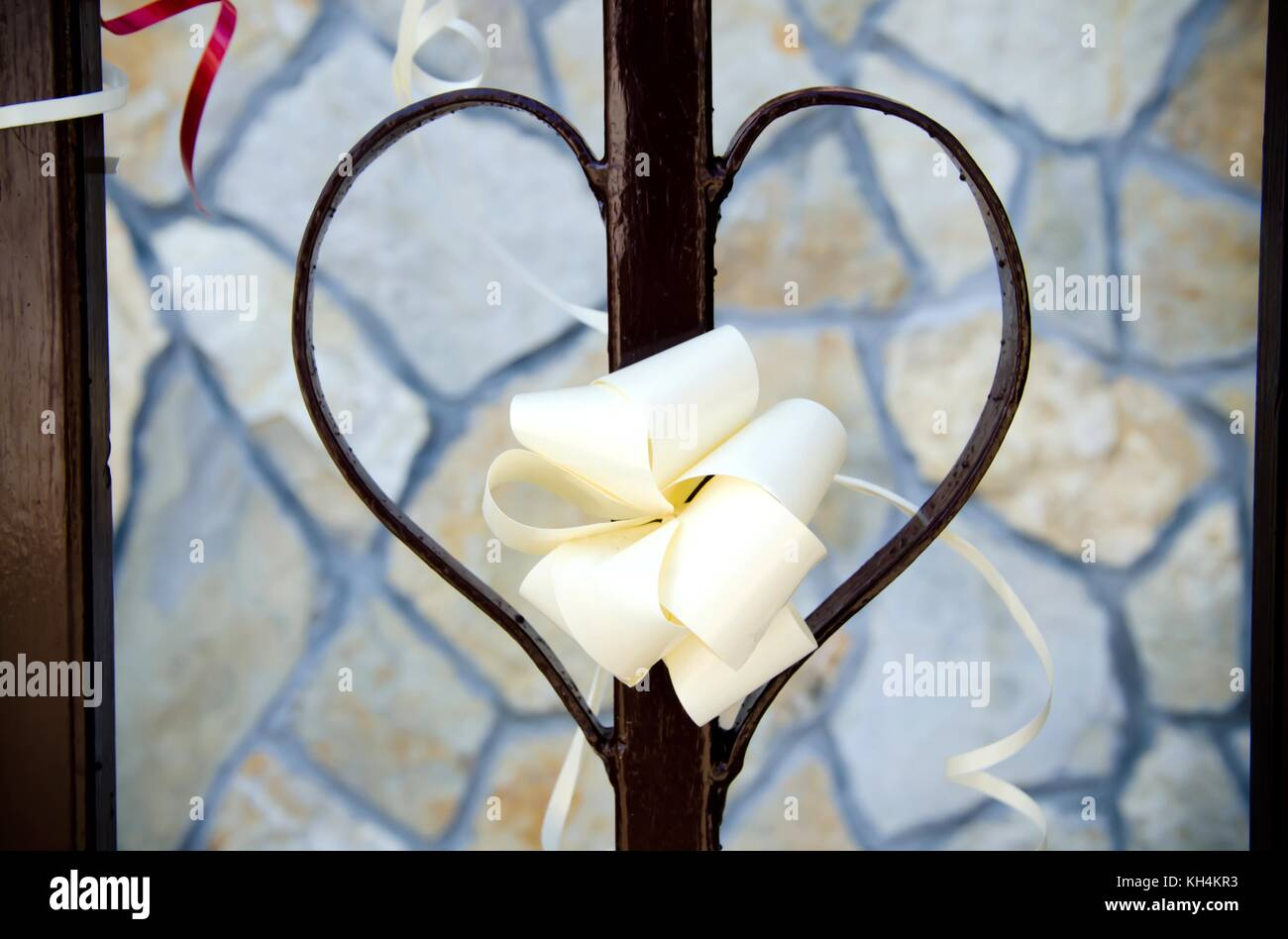 Beautiful Origami Decoration On Heart Shaped Fence As Decoration For