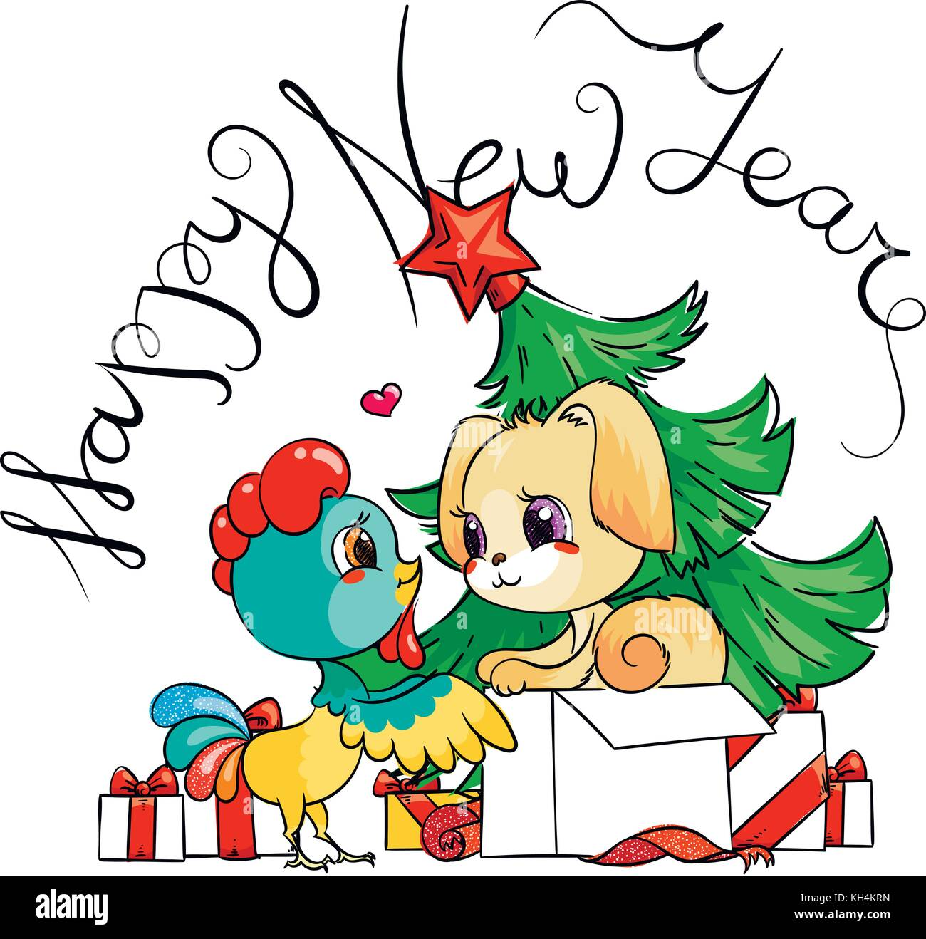 Funny Cartoon Card With Dog And Rooster Symbols Of 2017 And 2018