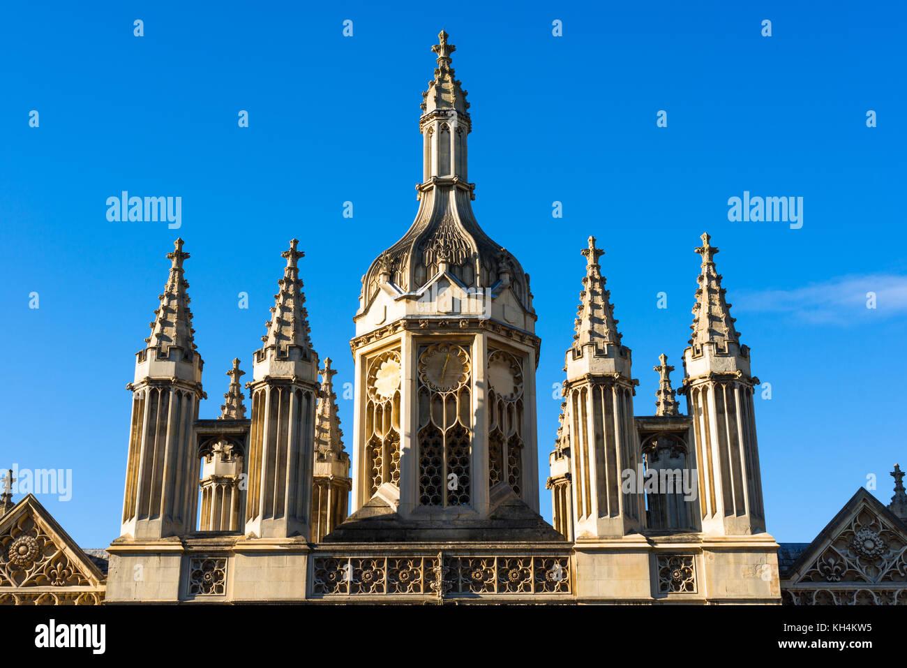 Clock tower as part of Kings College Main gatehouse on Kings Parade. Cambridge, Cambridgeshire, England, UK. - Stock Image