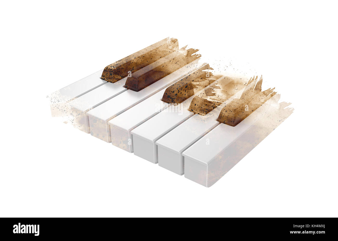 Piano keys on the white background with brush abstract style. - Stock Image