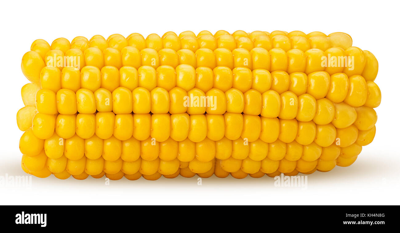 Ear of corn cut in half isolated on a white background. Fresh corncob. Clipping Path. Stock Photo