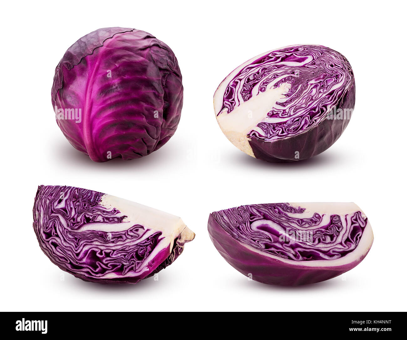 Set red cabbage cut in half and quarters isolated on white background. Clipping Path. - Stock Image