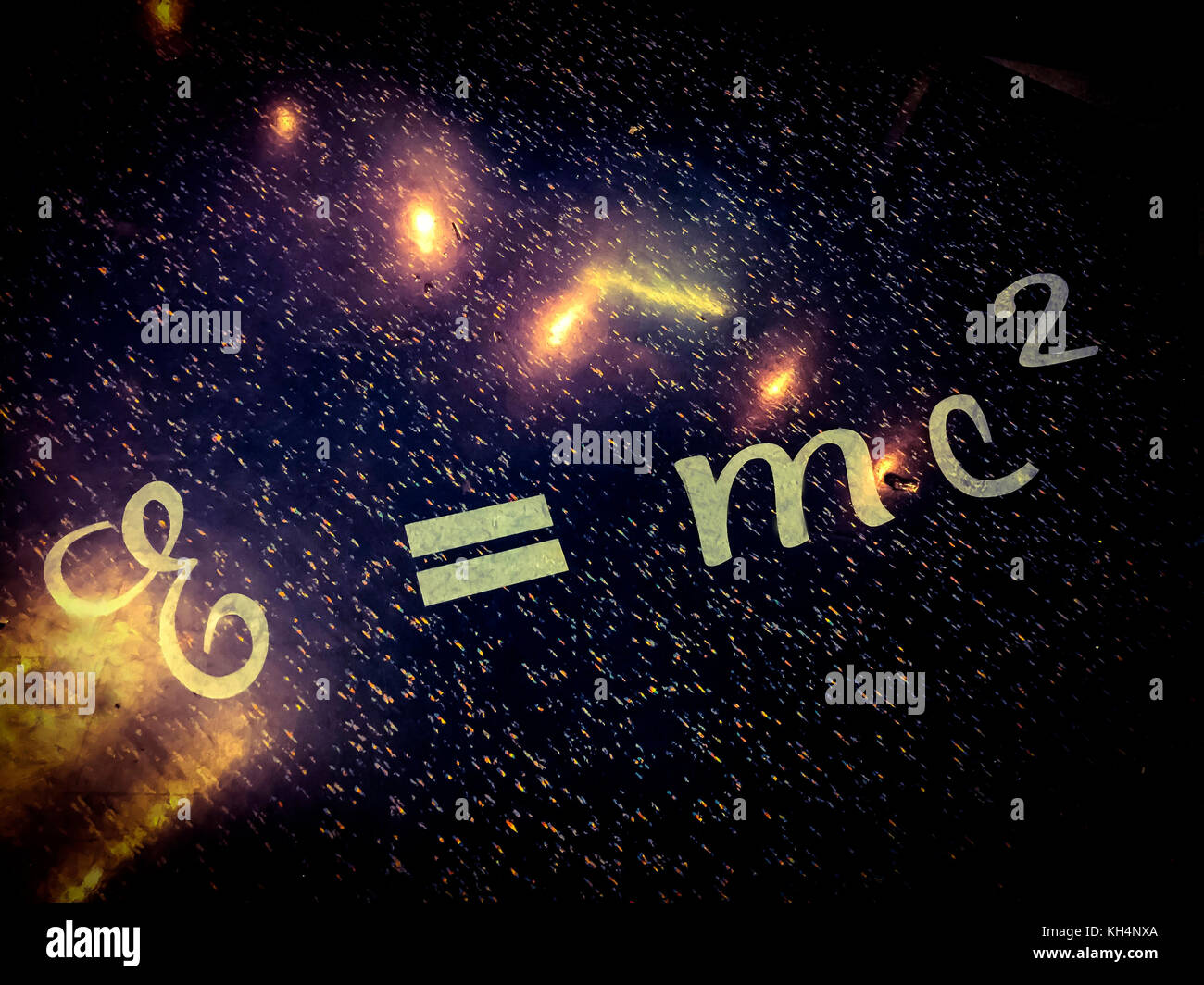 Einstein floored. The famous equation of the theory of relativity etched on the floor of a cafe,  Canada - Stock Image