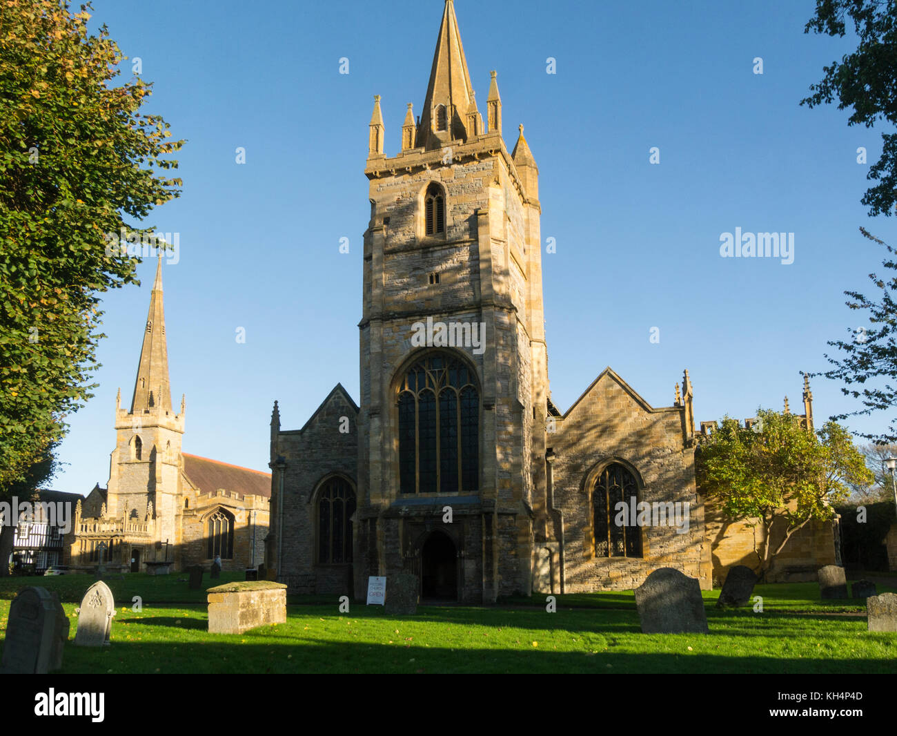 St Lawrence and All Saints Churches Evesham Abbey Worcestershire England UK, St Lawrence is no longer used All Saints - Stock Image