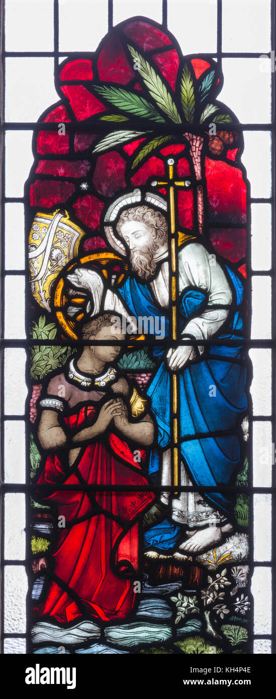 LONDON, GREAT BRITAIN - SEPTEMBER 19, 2017: The St. Philip baptism of the Ethipian Eunuch on Stained glass in St Stock Photo