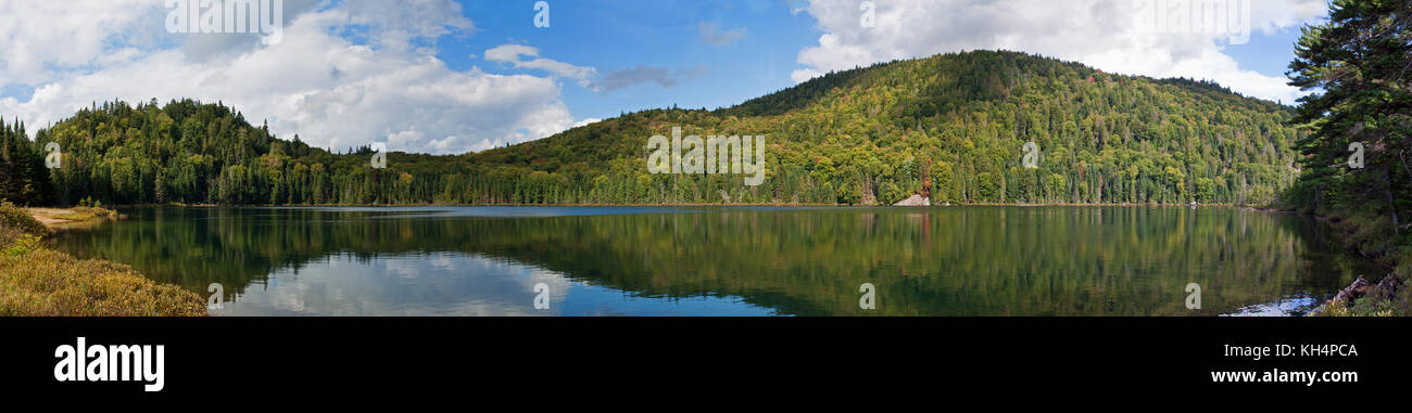 Panoramic Landscape of Lac Lauzon at Mont-Tremblant Naional Park, Quebec, Canada, 2016 Stock Photo