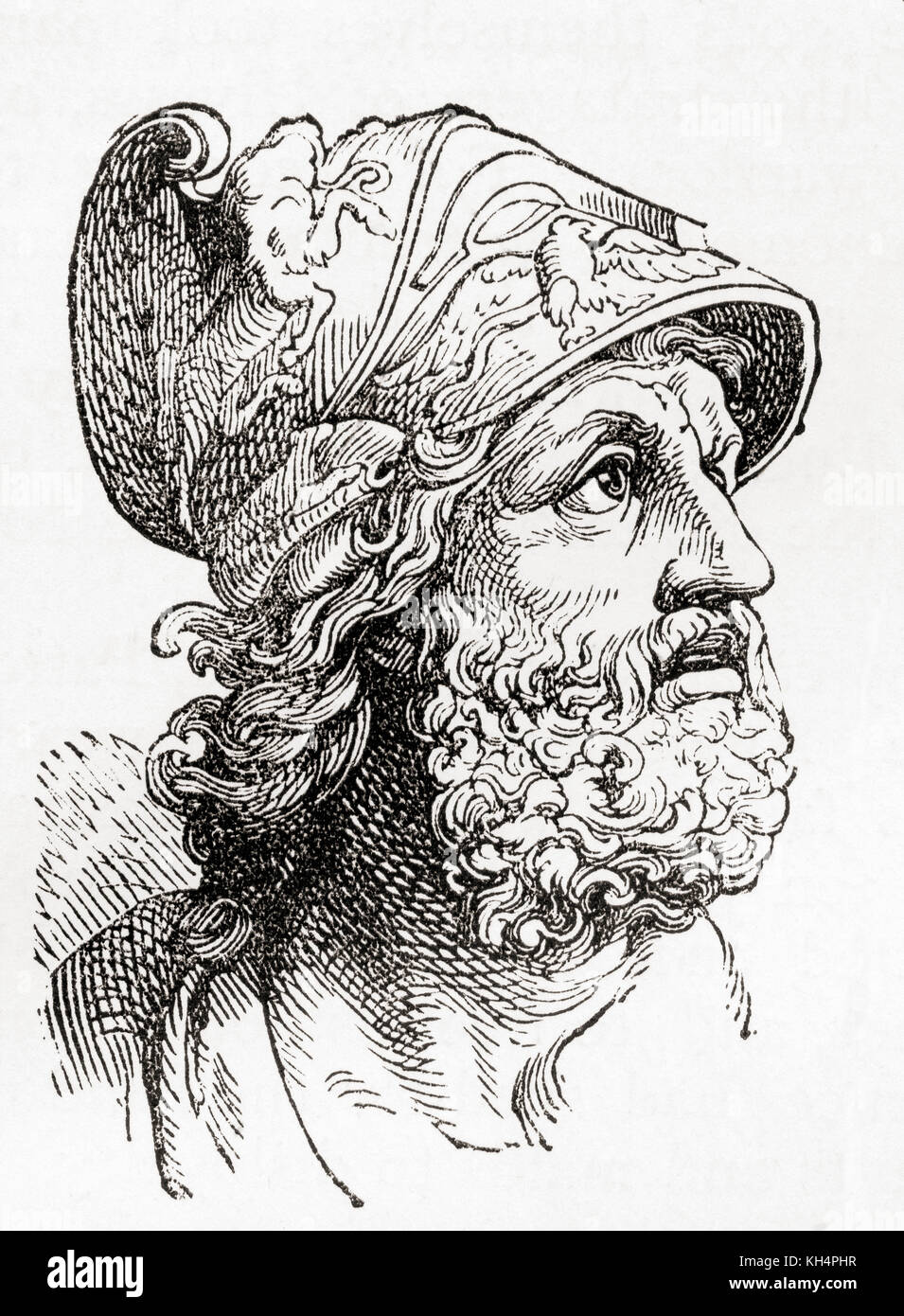Menelaus.  According to Greek mythology, Menelaus was a king of Mycenaean (pre-Dorian) Sparta and the husband of - Stock Image