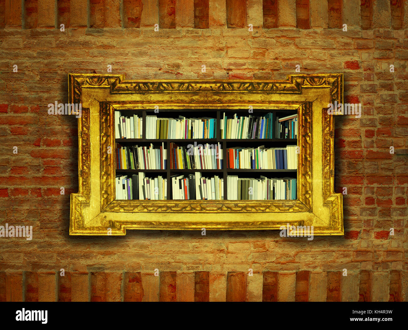 An idea of a bookcase surrounded by a gilded baroque frame hanging ...