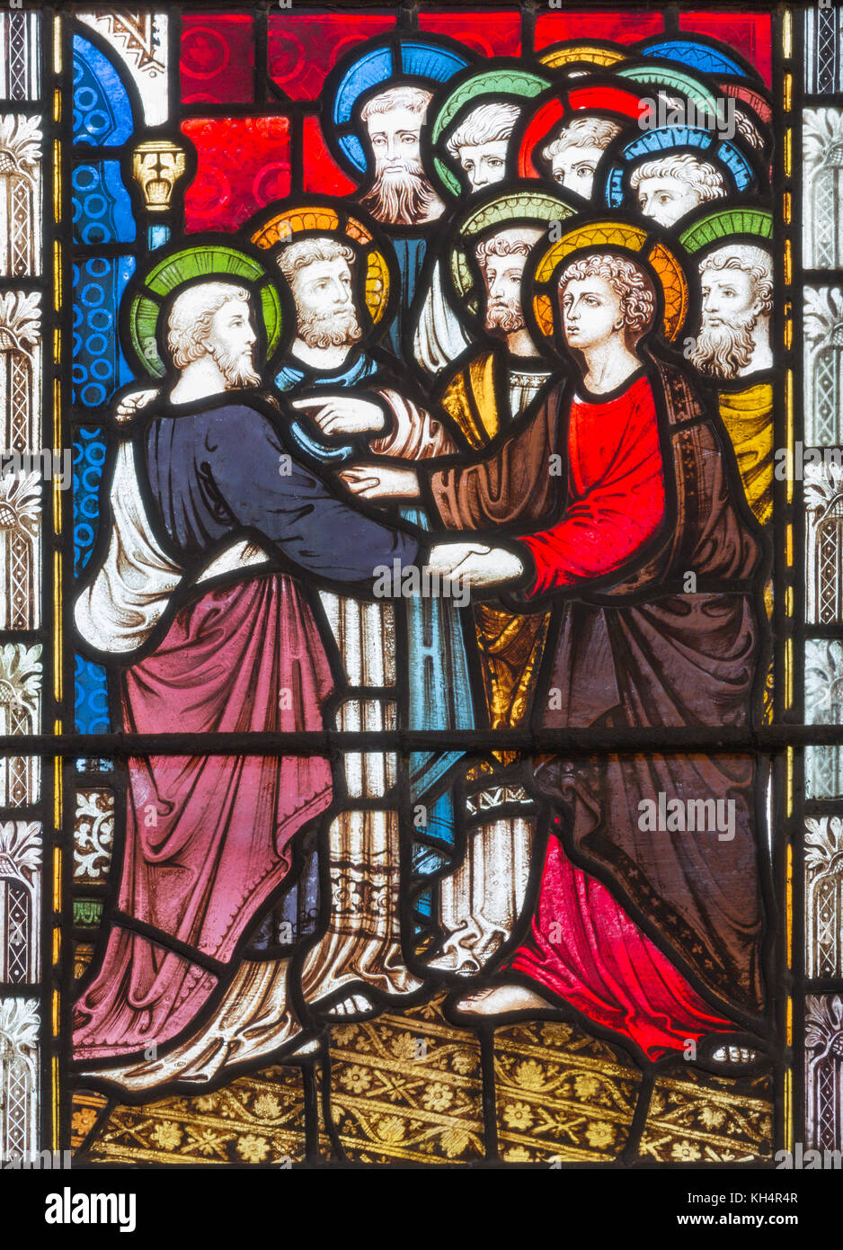 LONDON, GREAT BRITAIN - SEPTEMBER 19, 2017: The St. Paul anong the Apostles on the stained glass in St Mary Abbot's - Stock Image