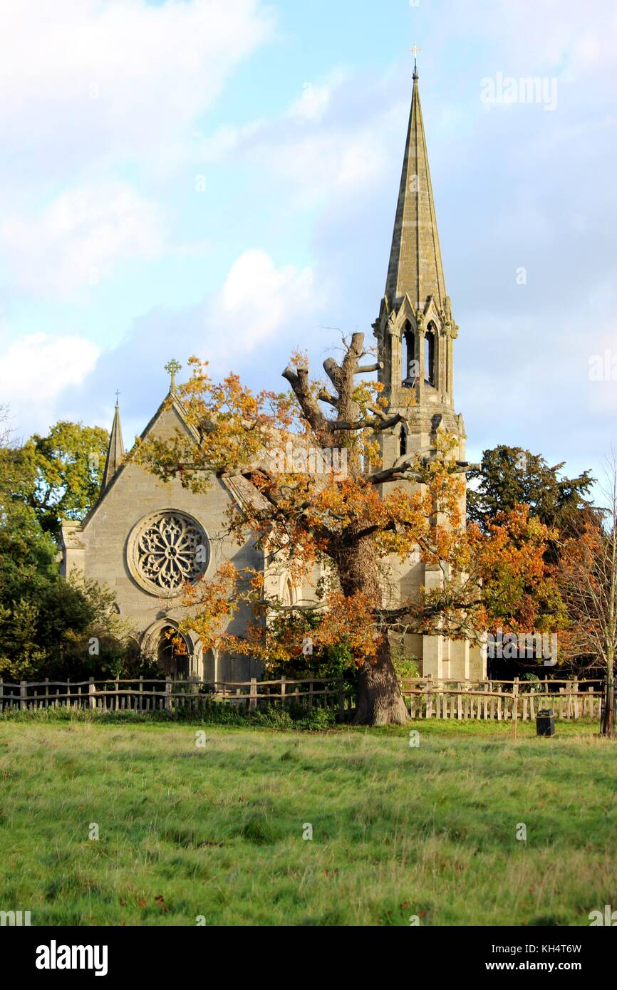 St. Leonard's Church; home to the Lucy family vault, in full Autumn colour. Stock Photo
