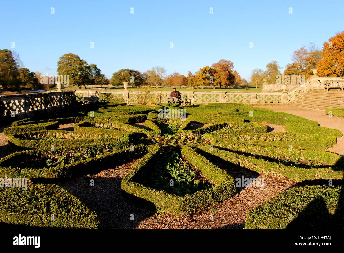 The gardens of Charlecote Park. Stock Photo