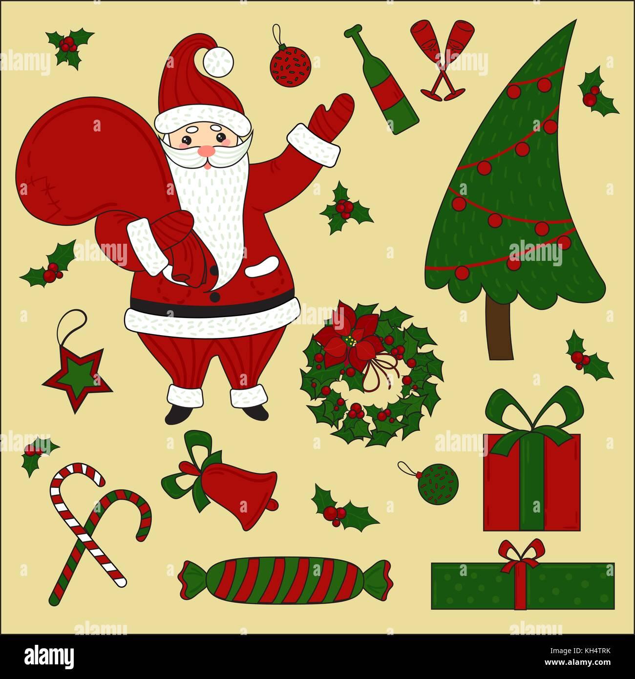 Christmas Items.Christmas Items And Santa Set New Year Stock Vector Art