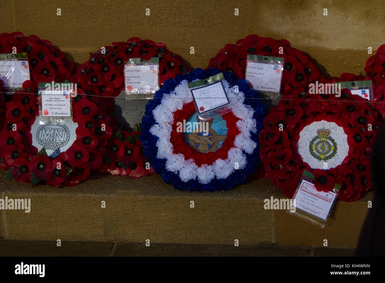 poppy wreaths laid at Bristol Cenotaph. Remembrance Day 2017 - Stock Image