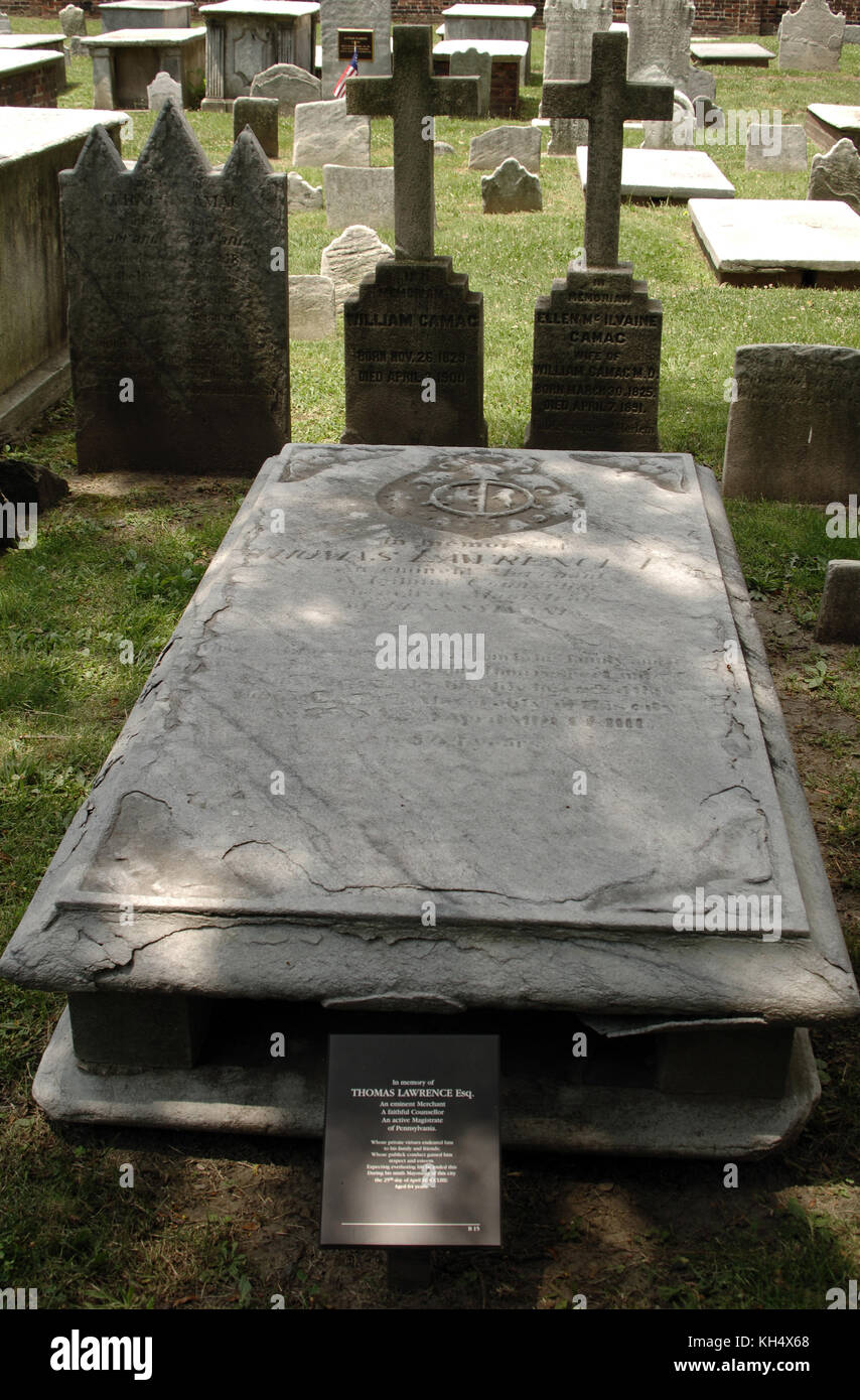 USA. Pennsylvania. Philadelphia. Christ burial Ground. Tomb of Thomas Lawrence (1689-1754). Merchant  and Mayor - Stock Image