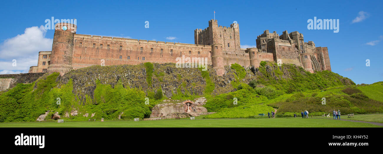 Bamburgh Castle Northumberland north east England UK panoramic view medieval fortress - Stock Image