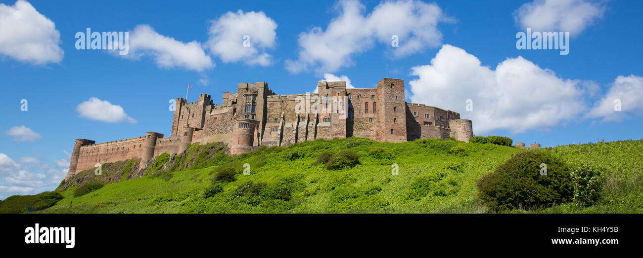 Bamburgh Castle Northumberland England UK panoramic view - Stock Image