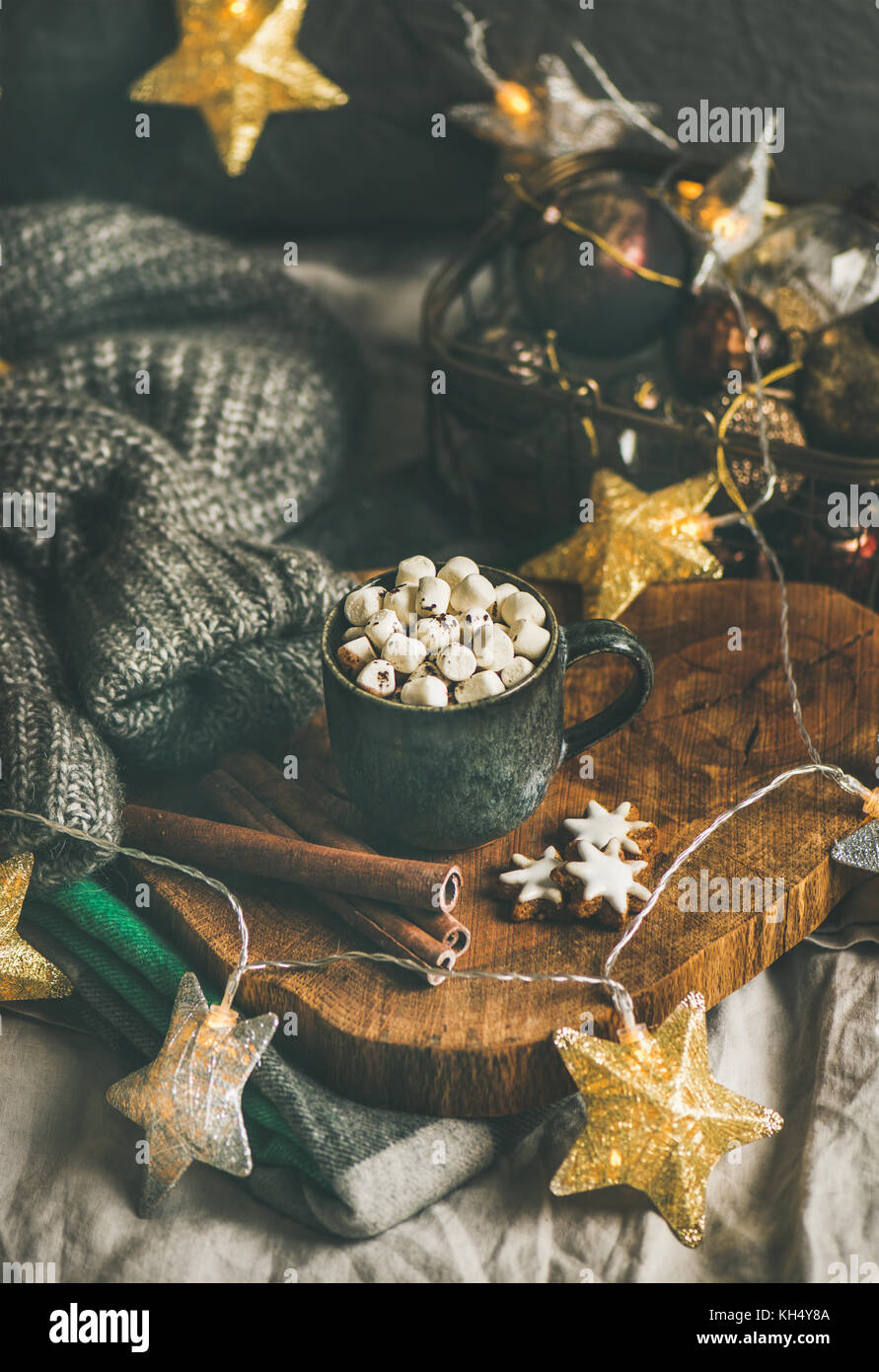 Christmas winter hot chocolate with marshmellows and cinnamon sticks - Stock Image