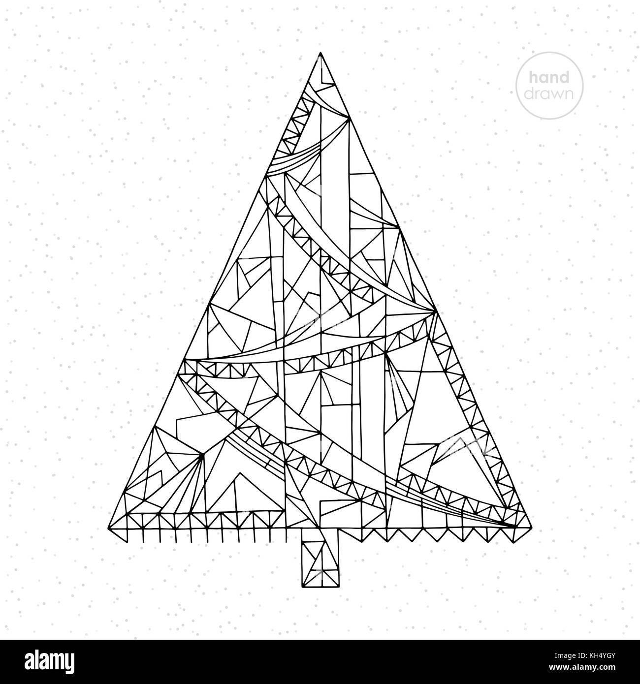 Xmas Tree Vector Illustration Hand Drawn Abstract Winter Holidays Coloring Page Christmas Background In Modern Style